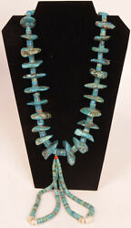 Navajo Large Turquoise Nugget Necklace 28 Long + 2 - 6 Long Jaclas C.1940s