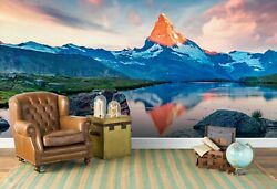 3d Summer Lake Swiss Alps Wallpaper Wall Mural Removable Self-adhesive Sticker
