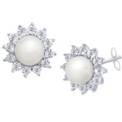 Freshwater Pearl And 1/8 Ct Natural Diamond Stud Earrings In 10k White Gold
