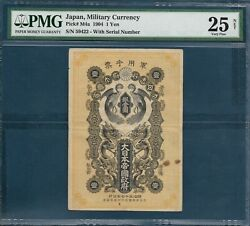 Japan Russo-japanese War Mpc 1 Yen Silver, P M4a / With S/n, Pmg 25 Vf Net Rare