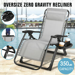 Folding Extra Wide Zero Gravity Chair Recliner Patio Pool Lounge Support 350lbs