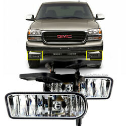 For Gmc 99-02 Sierra / 01-06 Yukon Clear Fog Lights Bumper Lamps W/bulbs