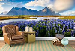 3d Flowers Lake Mountains Self-adhesive Removable Wallpaper Feature Wall Mural 5