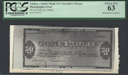 Turkey - Turkey Bank A.s Travellers Cheque 50 Lira 1966 Photographic Proof Unc