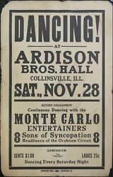 C.1925 Monte Carlo Entertainers Sons Of Syncopation Jazz Window Card Poster Orig
