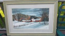 Original Watercolor By Denise Patchell Red Barn Landscape Framed Matted