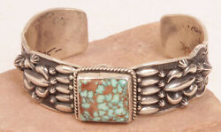 Navajo Repousse Embossed Silver And Turquoise Bracelet By Darryl Becenti