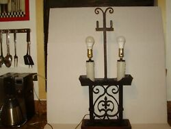 Huge Antique-vint.spanish Revival Gothic Iron And Hammered Metal Light Lamp 1626