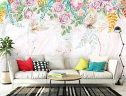 3d Watercolor Flowers Self-adhesive Removable Wallpaper Feature Wall Mural 5
