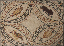 Leaves Life Fish Bird Grapes Anciant Mosaic 55and039and039x41 Marble Mosaic Geo2389