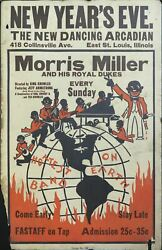 1930s Morris Miller And His Royal Dukes African Americana Jazz Window Card Poster