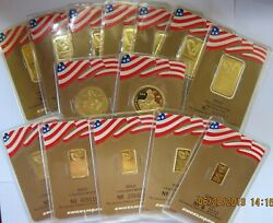 Lot of Gold Engelhard Bars & Rounds Eagle Flag  Design in Gold Assay Cards.