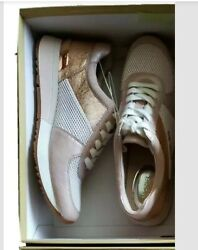 Michael Kors MK Women#x27;s Allie Trainer Premium Leather Sneakers Shoes Soft Pink $129.00