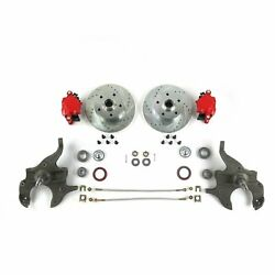 1964-72 Gm A-body 2 Drop 11 Disc Brake Conversion Kit Red D154 Calipers Chevy