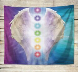 dorm room wall decor chakras meditation angel wing art wall tapestry