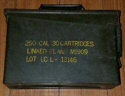 Vintage Military Metal Empty Ammo Box 250 30 Cal Linked Blank M1909