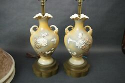 2 Mid Cent Mao Period Amphora Elephants Butterflies Flowers Chinese Table Lamps