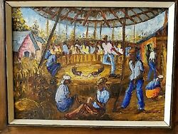 Wesner Pierre-louis Haitian 1948- Impressionist Oil Painting Of Cock Fight