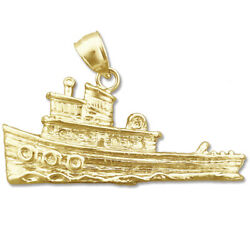 New Real Solid 14k Gold Tugboat Charm Pendant