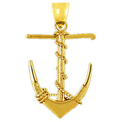 New Real Solid 14k Gold 3-d Ship Anchor With Sailor Rope Charm Pendant
