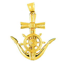 New Real Solid 14k Gold Ship Wheel And Anchor Nautical Charm Pendant