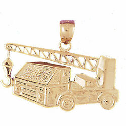 New Real Solid 14k Gold Construction Truck Mounted Crane Charm Pendant