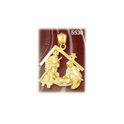 New Real Solid 14k Gold Nativity Charm Pendant