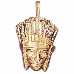 New Real Solid 14k Gold Native Indian Warrior Charm Pendant