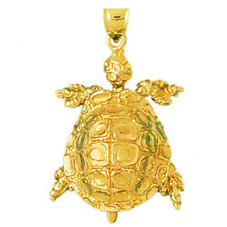 New Real Solid 14k Gold Moveable 3d Sea Turtle Charm Pendant