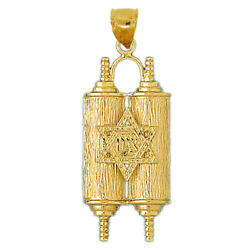 New Real Solid 14k Gold 40mm Torah With Star Of David Charm Pendant
