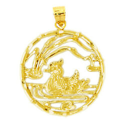 New Real Solid 14k Gold Duck In Pond Charm Pendant