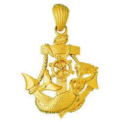 New Real Solid 14k Gold Mermaid And Sailor Ship Anchor Charm Pendant