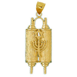 New Real Solid 14k Gold Torah With Menorah Charm Pendant