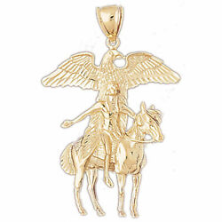 New Real Solid 14k Gold Native Indian Spirit Of The Eagle Charm Pendant