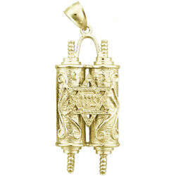 New Real Solid 14k Gold Jewish Torah With Star Of David Charm Pendant