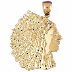 New Real Solid 14k Gold Native Indian Chief War Bonnet Charm Pendant