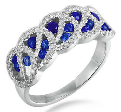 14k White Gold 0.76 Ct Real Blue Sapphire Diamond Cocktail Ring Fine Jewelry