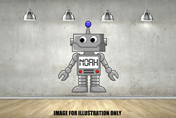 Robot Digital Personalised Name Text Childrens Wall Stickers Kids Wall Vinyl