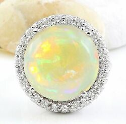 16.02 Carat Natural Opal 14k Solid White Gold Diamond Ring