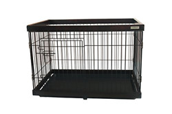 Simply Plus Dog Crate [Newly Designed Model] Solid Wooden Frame+ Metal wTray-