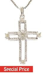Solid 14k White Gold 0.54ct Real Diamond Christianity Holy Cross Pendant Jewelry