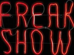 Freak Show Neon Light Led Sign Halloween Haunted House Prop Glo Carnival Circus