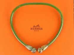 Authentic Hermes Green Leather X 925 Silver Choker Necklace + Box