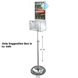 Styrene Clear Large Suggestion Box 9w X 6.25d X 6.25h Inches With Signpedestal