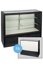 Full Vision Glass Display In Black Charcoal 38 H X 18 D X 70 L Inches