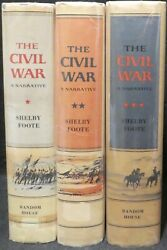 Foote Shelby. The Civil War A Narrative In 3 Vols. First Eds Vol 1 Signed