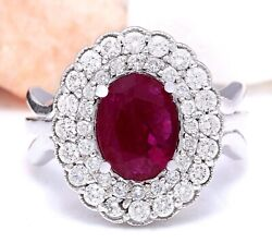 2.60 Carat Natural Ruby 14k Solid White Gold Diamond Ring