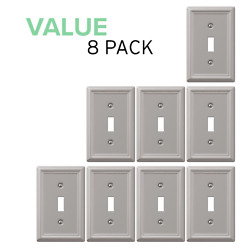 Value 8-pack Toggle Wall Plate Light Switch Wallplate, Brushed Nickel