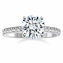 Simulated Engagement Ring 2 Ct Round Cut Bridal Jewelry 14k White Gold