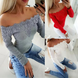 Women Sexy Lace Off Shoulder T-Shirt Tops Ladies Long Sleeve Slim Fit Blouse Tee